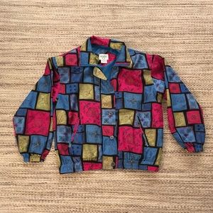 80s Vintage Cervelle Silky Abstract Zip Jacket, M